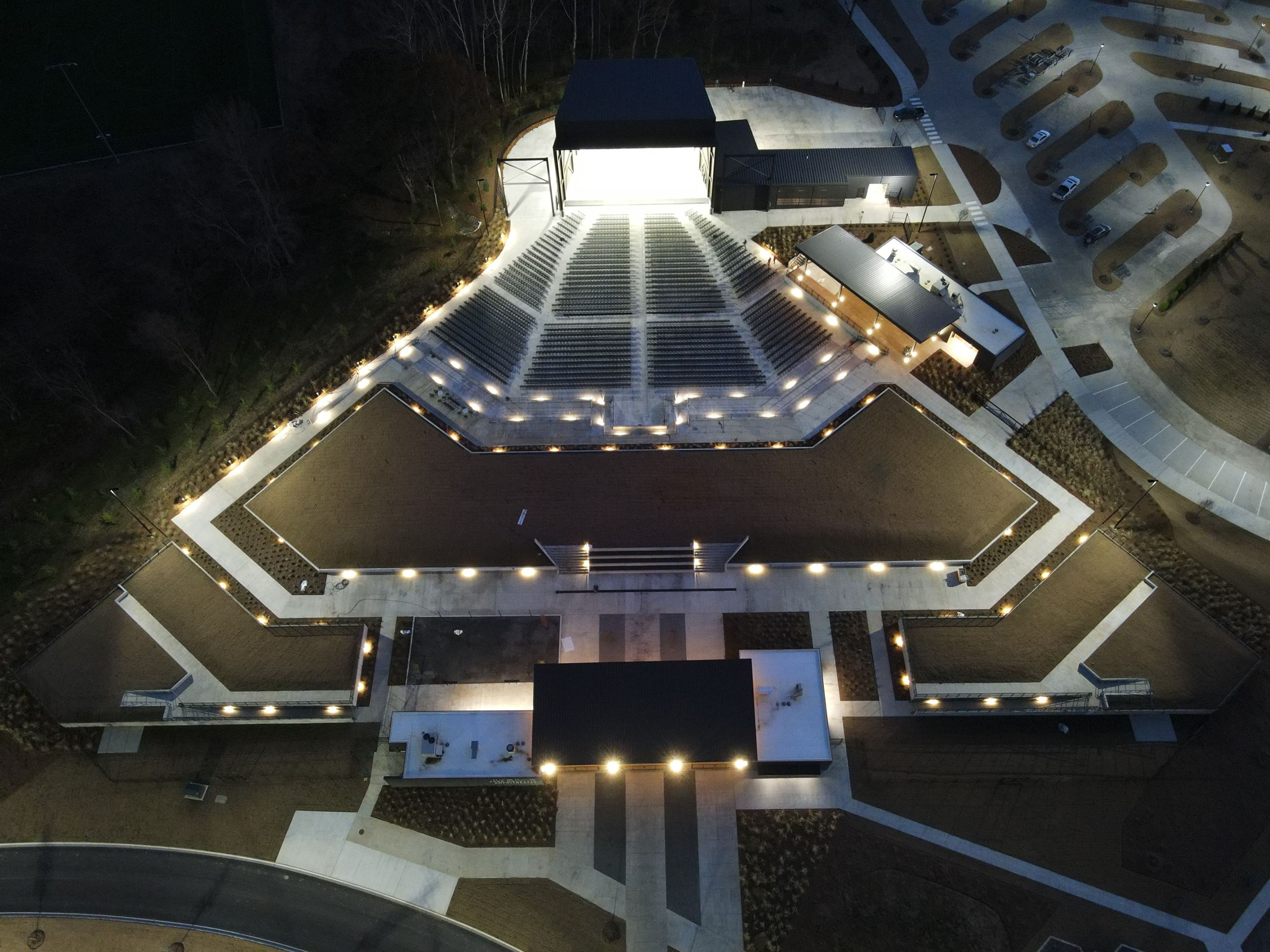 Aerial photo of amphitheater in Albertville, AL