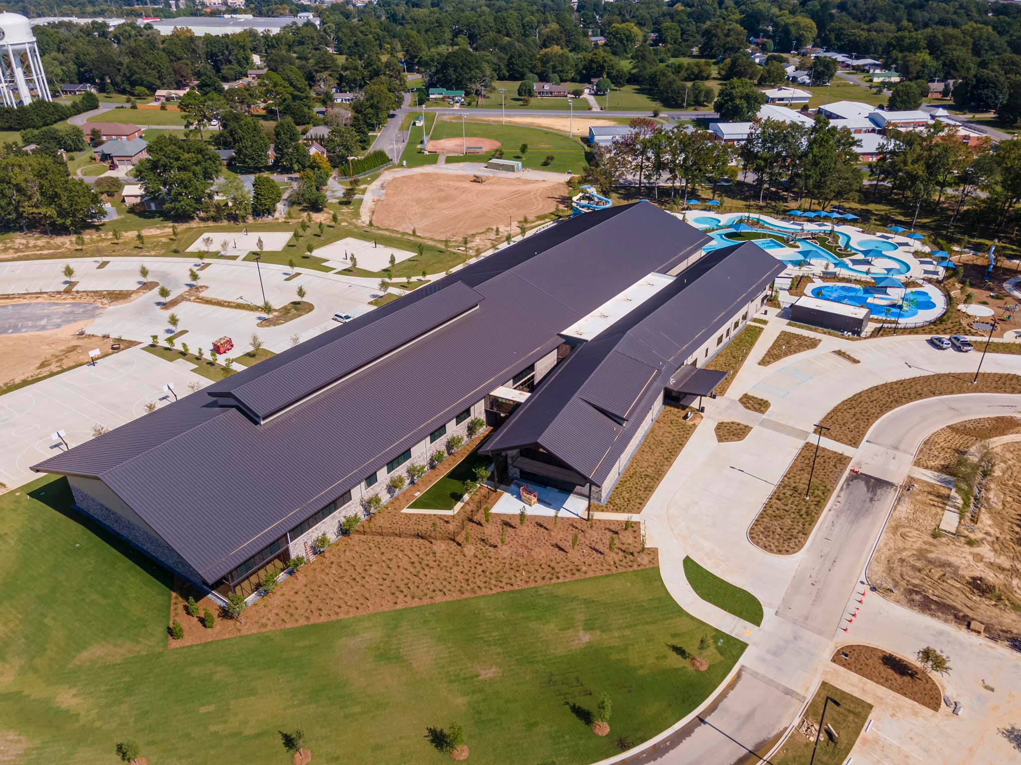 Aerial View of Fitness Center and Waterpark at Sand Mountain Park Albertville